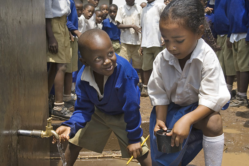 Clean drinking water supply at<p> a Primary School, Tanzania