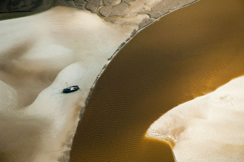 Boat on a sand bank, aerial view, Pwani Region, Tanzania